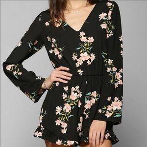 Pins & Needles Black Floral romper jumpsuit Size S